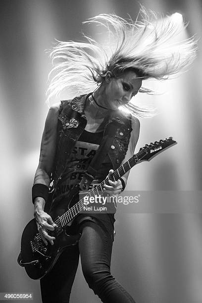 Nita Strauss of the Alice Cooper Band performs supporting Motley Crue at SSE Arena Wembley on November 6, 2015 in London, England.