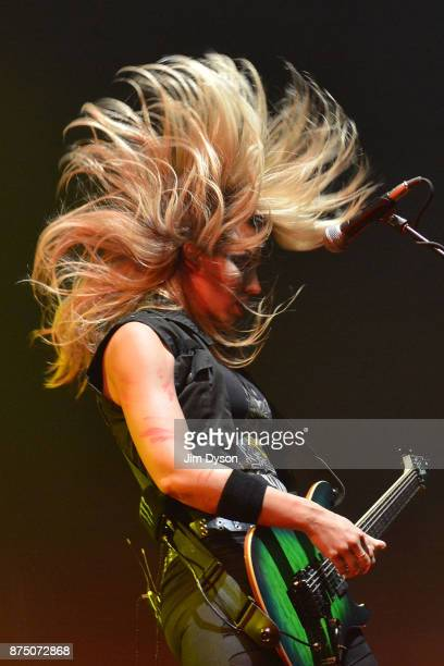 Nita Strauss performs live on stage with Alice Cooper at Wembley Arena on November 16, 2017 in London, England.