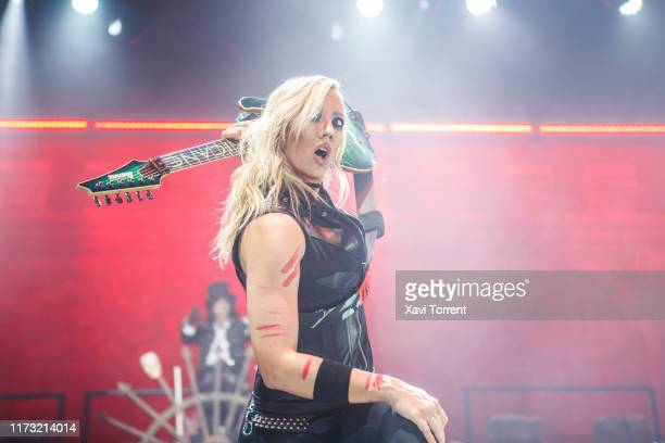 Nita Strauss performs on stage at Sant Jordi Club during Alice Cooper concert on September 08, 2019 in Barcelona, Spain.