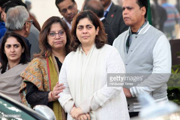 Nitasha Nanda at the funeral of Ritu Nanda at Lodhi Road Crematorium on January 14 2020 in New Delhi India Ritu Nanda late actor Raj Kapoor's...