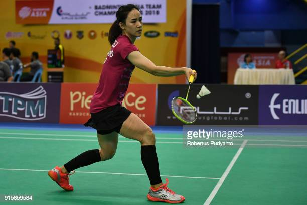 Nitchaon Jindapol of Thailand competes against Soniia Cheah of Malaysia during the EPlus Badminton Asia Team Championships 2018 at Sultan Abdul Halim...