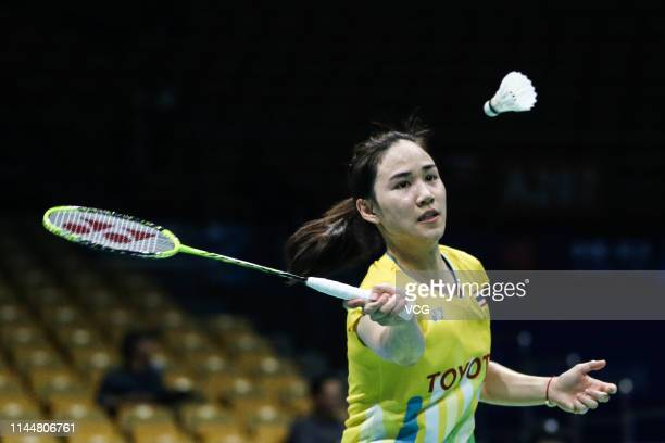 Nitchaon Jindapol of Thailand competes in the Women's Singles first round match against He Bingjiao of China during day two of the 2019 Badminton...