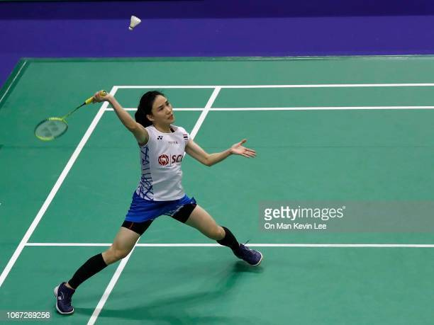Nitchaon Jindapol of Thailand returns a shot to Pusarla Sindhu of India during round 1 of Women's Single of Yonex Sunrise Hong Kong Open 2018 at Hong...