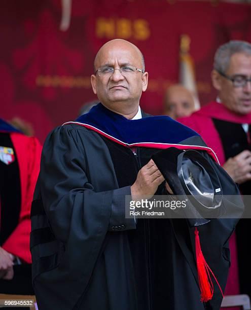 Nitin Nohri Dean of the Harvard Business School at the Harvard Business School Graduation Ceremony on the campus of Harvard Business School in Boston...