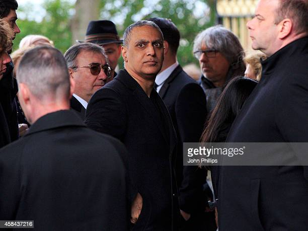 Nitin Sawhney attends the funeral of Jack Bruce at Golders Green Crematorium on November 5 2014 in London England