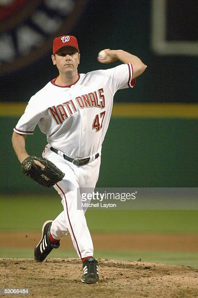 J Nitkowski of the Washington Nationals pitches during a game against the Atlanta Braves on May 31 2005 at RFK Stadium in Washington DC The Nationals...