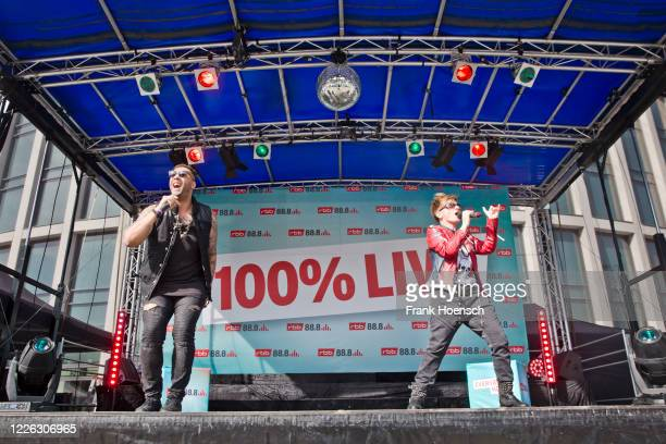 Nitro and Franca Morgano of the German band Magic Affair perform live on a 90er Drive-In concert at exhibition ground on May 21, 2020 in Berlin,...