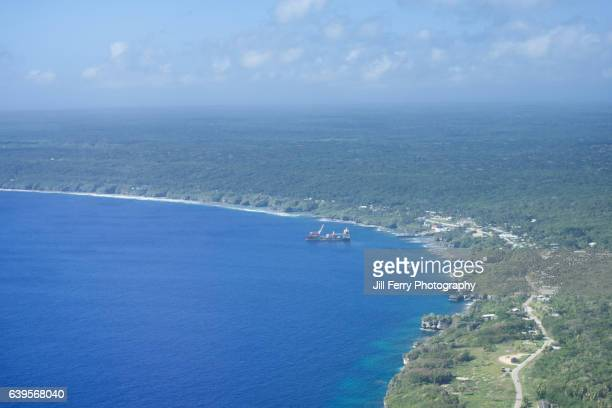 niue island from the air - niue island stock photos and pictures