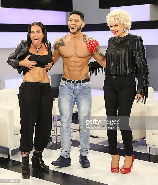 Niurka Marcos and Charytin Goyco are seen on the set of Paparazzi TV at MegaTV studios on March 20 2015 in Miami Florida
