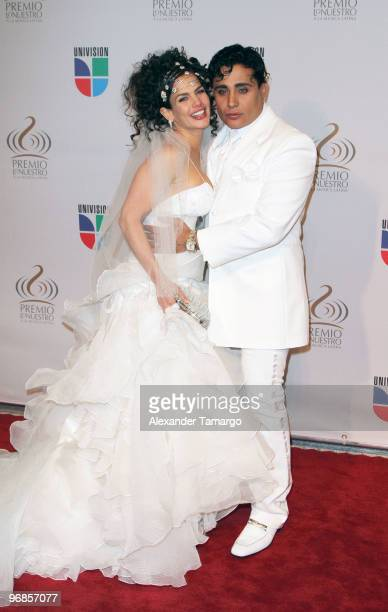 Niurka Marcos and Eduardo Antonio arrive at Univisions 2010 Premio Lo Nuestro a La Musica Latina Awards at American Airlines Arena on February 18...