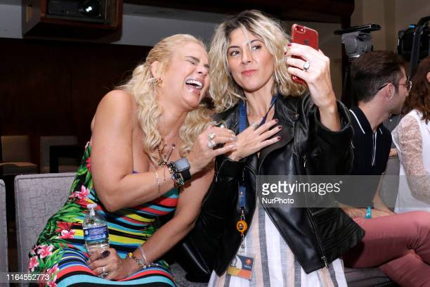Niurka Marcos and Veronica Jaspeado take a selfie during a press conference to promote ' Alma de Angel ' TV Series at Televisa San Angel on August 27...