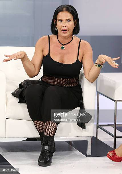 Niurka Marcos is seen on the set of Paparazzi TV at MegaTV studios on March 20 2015 in Miami Florida