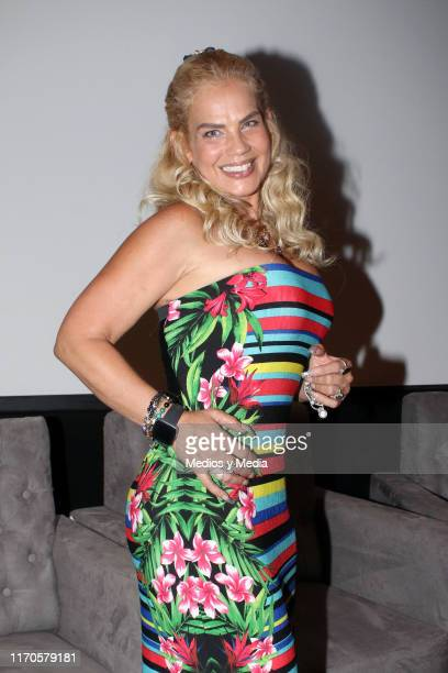 Niurka Marcos poses for photos during a presentation of the TV show 'Alma de Angel' at Televisa San Angel on August 27 2019 in Mexico City Mexico