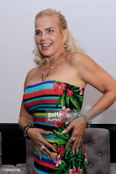 Niurka Marcos poses for photos during a press conference to promote ' Alma de Angel ' TV Series at Televisa San Angel on August 27 2019 in Mexico...