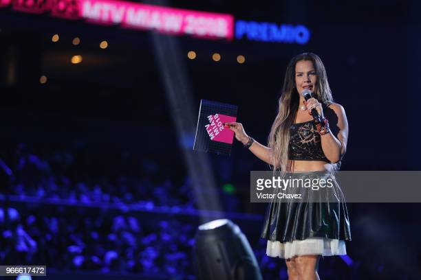Niurka Marcos speaks on stage during the MIAW Awards 2018 at Arena Ciudad de Mexico on June 2 2018 in Mexico City Mexico