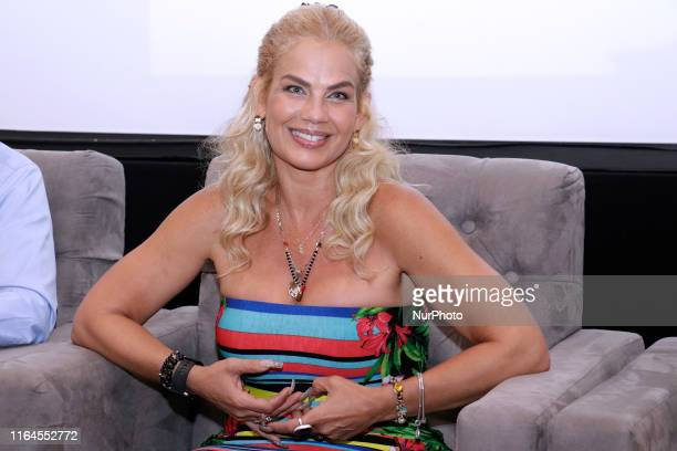 Niurka Marcos talks during a press conference to promote ' Alma de Angel ' TV Series at Televisa San Angel on August 27 2019 in Mexico City Mexico