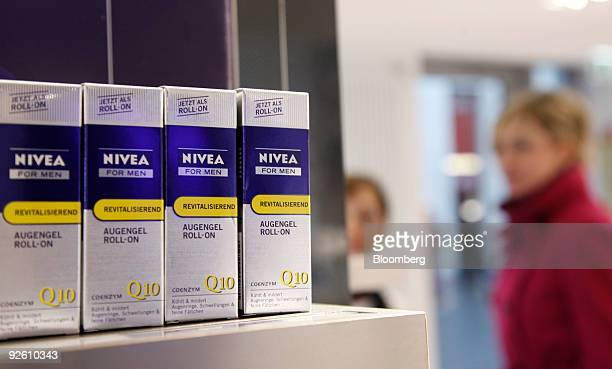 Nivea men's eye cream is seen on display in a Beiersdorf AG 'Nivea House' shop in Berlin Germany on Monday Nov 2 2009 The company releases its...