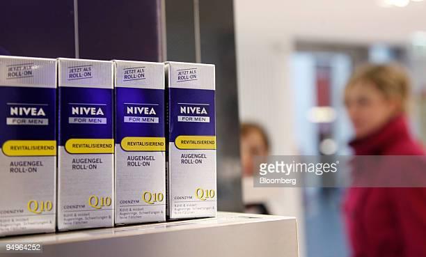 Nivea men's eye cream is seen on display in a Beiersdorf AG