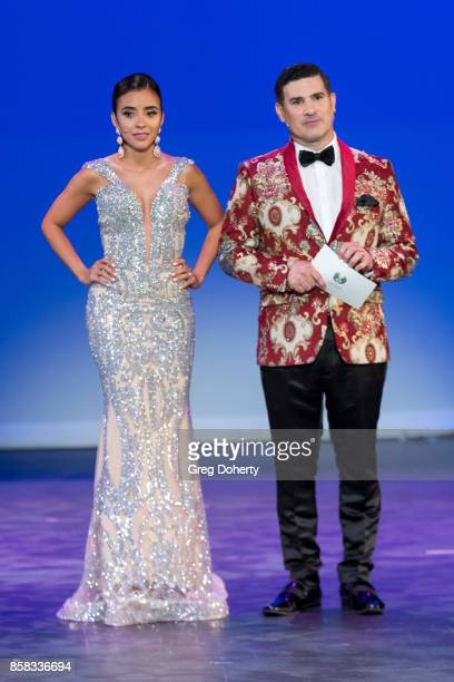 Niveen Heaton and Eduardo Khawam attends the Metropolitan Fashion Week Closing Night Gala at Arcadia Performing Arts Center on October 5 2017 in...