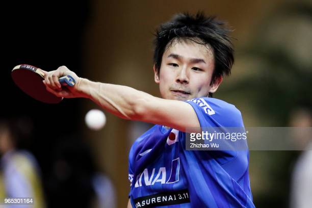 Niwa Koki of Japan in action at the men's singles match Round of 16 compete with Pitchford Liam of England during the 2018 ITTF World Tour China Open...