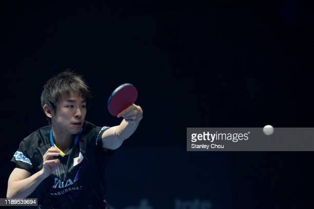 Niwa Koki of Japan plays a shot during day three of the T2 Diamond 2019 Singapore at the Our Tampines Hub on November 23, 2019 in Singapore.