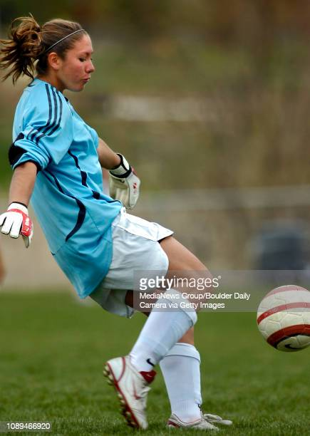 Niwot goalkeeper Alexis Zumwalt kicks the ball away late in the second half against Silver Creek at Niwot High School on Saturday The Cougars went on...