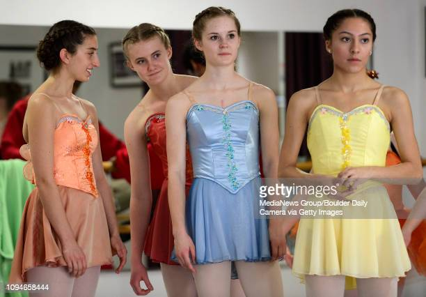 Niwot High School sophomore Ashley Nicoll second from right participates in a rehearsal Saturday April 19 2014 for the Longmont Dance Theatre's...