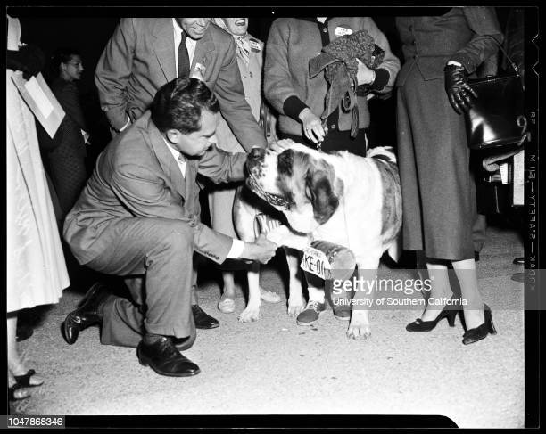 Nixon arrival, 27 October 1956. Vice Pressident and Mrs Richard Nixon;Thomas Kuchel;Mrs Thomas Kuchel;Miss Ann Hogan.;Caption slip reads:...