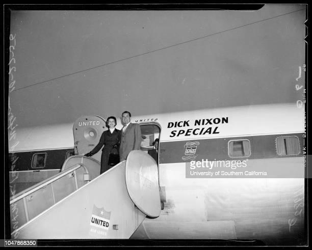 Nixon arrival 27 October 1956 Vice Pressident and Mrs Richard NixonThomas KuchelMrs Thomas KuchelMiss Ann HoganCaption slip reads 'Photographer Olmo...