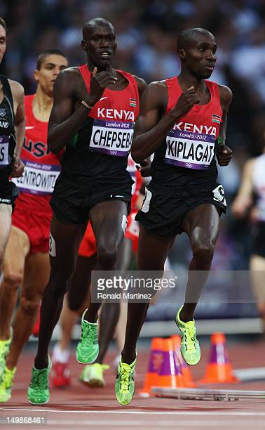 Nixon Kiplimo Chepseba of Kenya and Silas Kiplagat of Kenya compete during the Men's 1500m semi final on Day 9 of the London 2012 Olympic Games at...