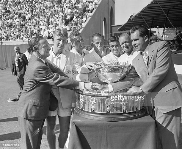 Nixon Presents Davis Cup to Aussies. Forest Hills, Long Island: Vice President Richard Nixon congratulates Sir Percy Spender, Australian ambassador,...