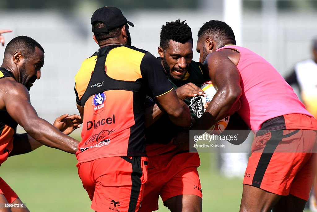 Nixon Put takes on the defence during a Papua New Guinea Kumuls Rugby League World Cup training session at the Oil Search National Football Stadium on November 3, 2017 in Port Moresby, Papua New Guinea.