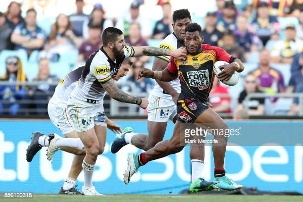 Nixon Putt of the Hunters makes a break during the 2017 State Championship Final between the Penrith Panthers and Papua New Guinea Hunters at ANZ...