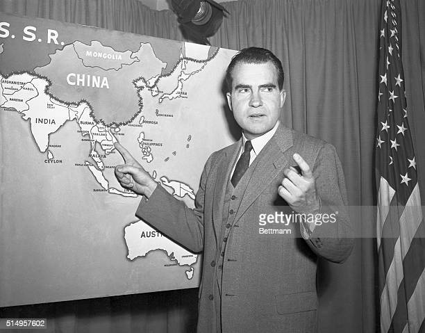 Nixon Sees Reds on Defensive Washington DC Vice President Richard Nixon points to a chart showing some of the countries he visited on his recent...
