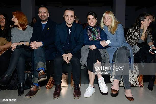 Niyazi Erdogan, Bora Aksu and Isin Gormus attend the Mehtap Elaidi show during Mercedes Benz Fashion Week Istanbul FW15 on March 19, 2015 in...