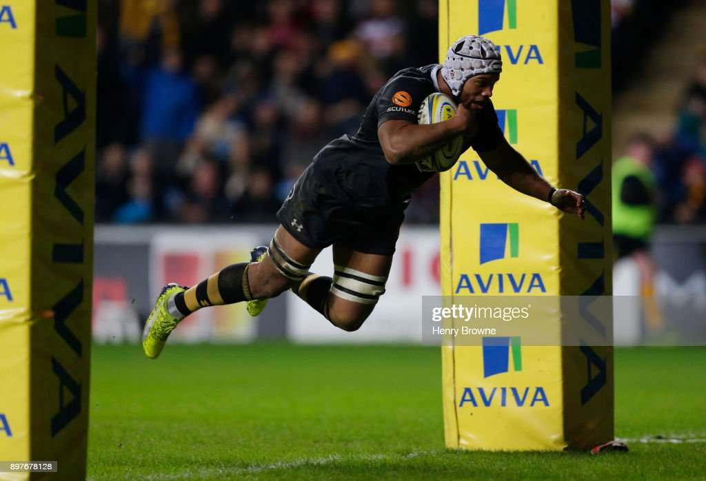 Nizaam Carr of Wasps during the Aviva Premiership match between Wasps and Gloucester Rugby at The Ricoh Arena on December 23, 2017 in Coventry, England.