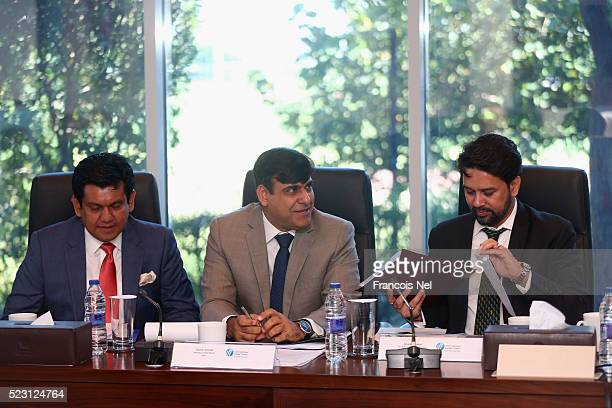 Nizam Uddin Chowdhury CEO Bangladesh Cricket Board Subhan Ahmed COO Pakistan Cricket Board and Anurag Thakur Honorary Secretary of BCCI attends the...
