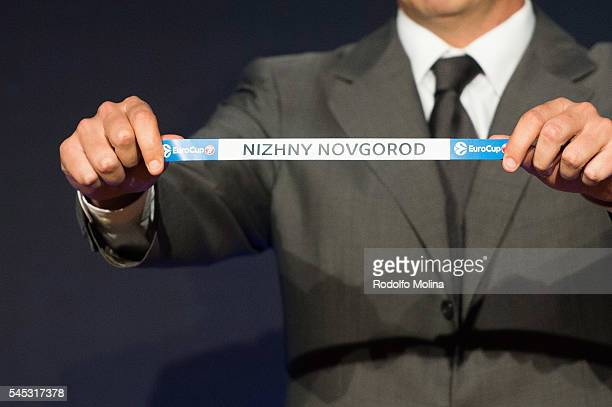 Nizhny Novgorod 1 seed group D is drawn during the Eurocup Basketball 20162017 Season Draw at Imagina Centre Audiovisual on July 7 2016 in Barcelona...