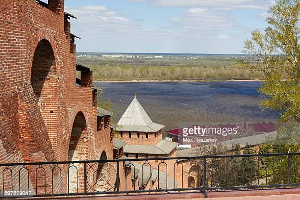 nizhny novgorod kremlin on volga river - nizhny novgorod oblast stock photos and pictures