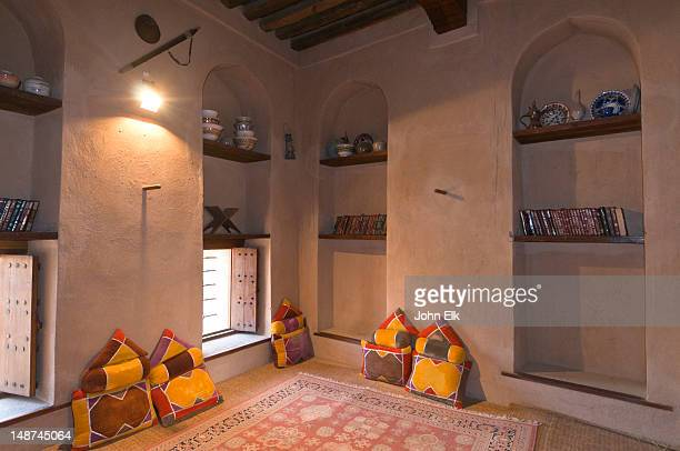 nizwa fort, interior room. - cushion stock pictures, royalty-free photos & images