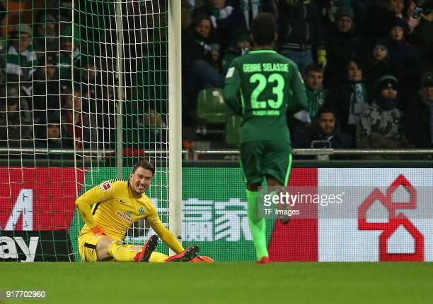 'nJiri Pavlenka of 'nWerder Bremen on the ground during the Bundesliga match between SV Werder Bremen and VfL Wolfsburg at Weserstadion on February...