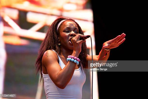 Nkechi Ka Egenamba of The GO! Team performs on stage during Bingley Music Festival - Day 01 at Myrtle Park on September 2, 2011 in Bingley, United...