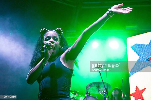 Nkechi Ka 'Ninja' of The Go Team performs on stage during the first day of YNot Festival 2011 on August 5 2011 in Matlock United Kingdom
