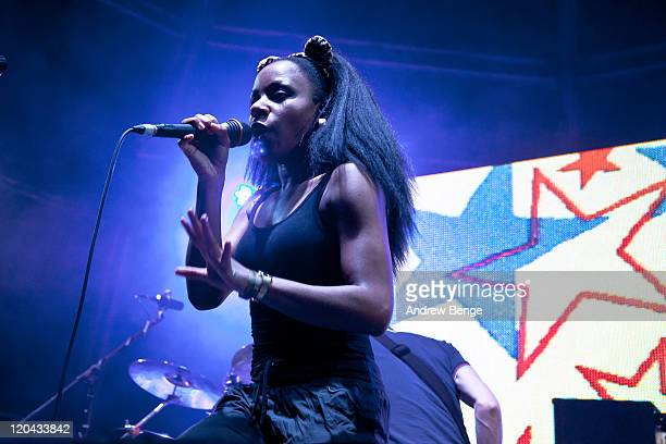 Nkechi 'Ninja' Ka of The Go Team performs on stage during YNot Festival 2011 on August 5 2011 in Matlock United Kingdom