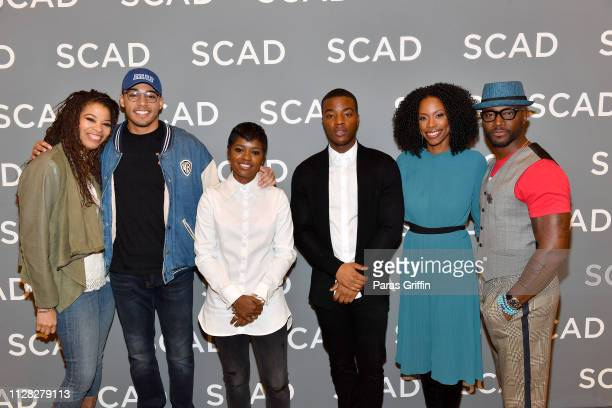 Nkechi Okoro Carroll Michael Evans Behling BreZ Daniel Ezra Karimah Westbrook and Taye Diggs attend the 'All American' press junket during SCAD...
