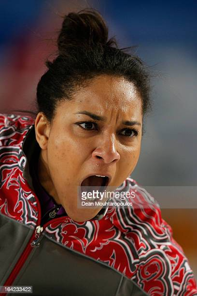 Nkeiruka Ezekh of Russia screams instructions to team mates in the match between Russia and USA on Day 6 of the Titlis Glacier Mountain World Women's...