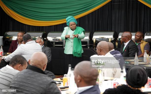 Nkosazana DlaminiZuma addresses the audience during the prayer party organized by the Dlamini Clan in her home Bulwer on December 10 2017 in...