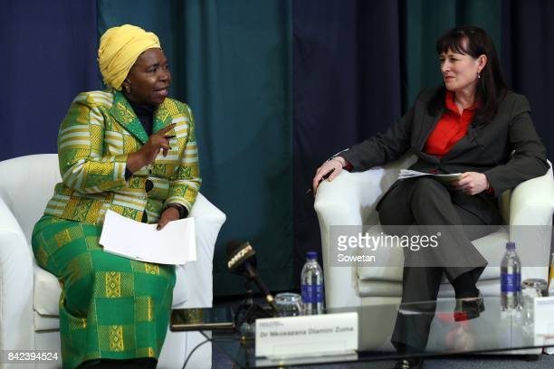 Nkosazana DlaminiZuma is seen with Nicola Kleyn during the Gordon Institute of Business Science forum in Illovo on August 29 2017 in Johannesburg...