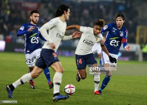 Nkunku Christopher Alan Martin Jonas during the French L1 football match between Strasbourg and Paris SaintGermain at the Stade de la Meinau stadium...