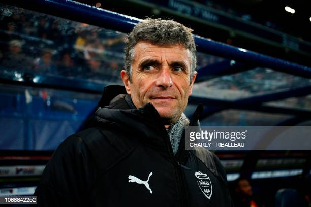 Nîmes' French coach Bernard Blaquart looks on before the French L1 football match between Stade Malherbe Caen and Nimes Olympique at the Michel...